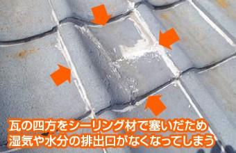四方をシーリング材で固められた瓦屋根