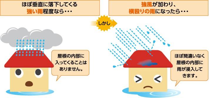強風の加わる暴雨は屋根の内部まで侵入する