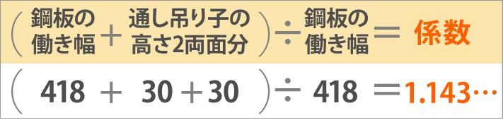 (鋼板の働き幅+通し吊り子の高さ2両面分)÷鋼板の働き幅=係数