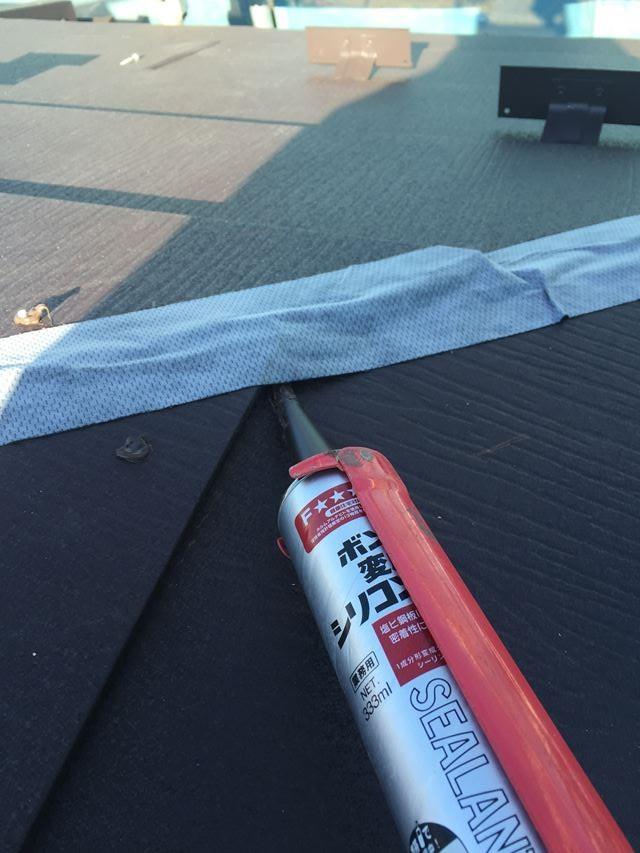 埼玉県越谷市で金属屋根カバー工法による貫板と棟板金の取付工事