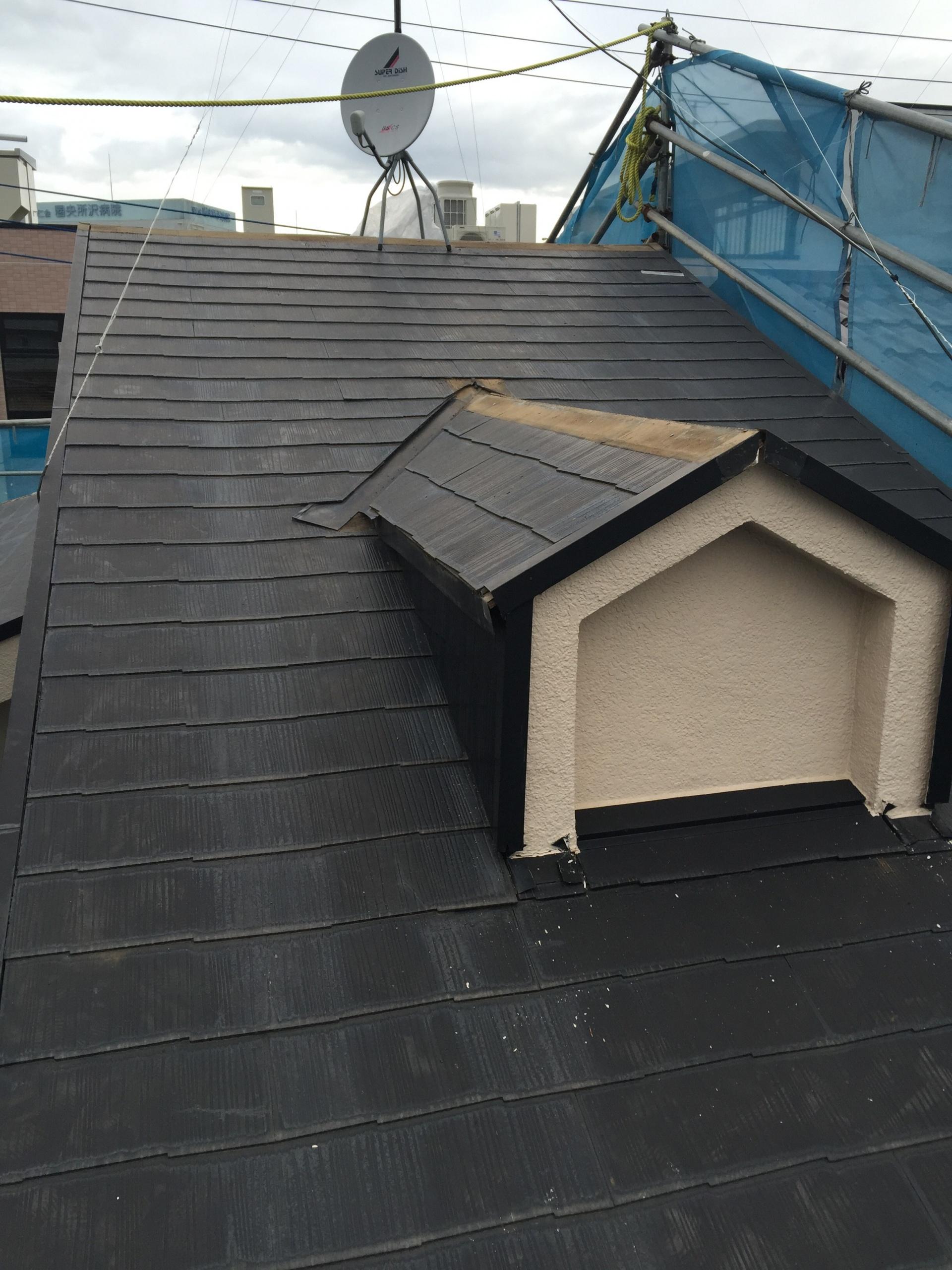 鳩小屋のある屋根