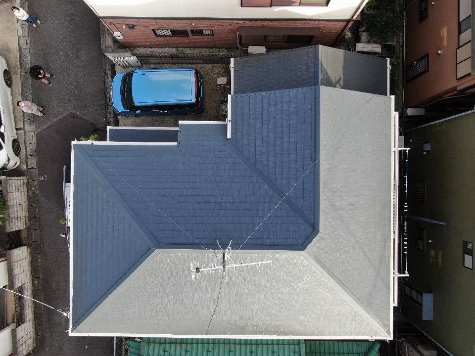 屋根塗装完工後上空写真