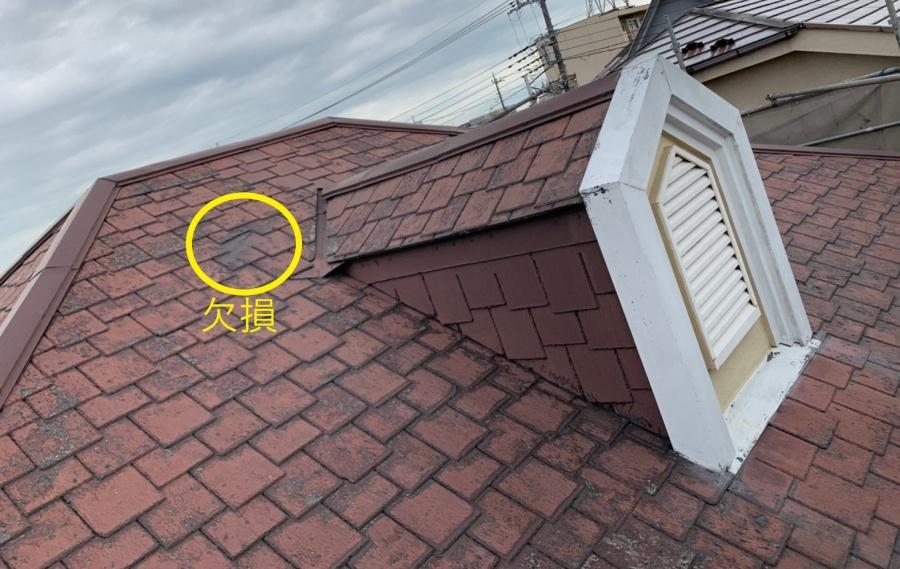 越谷市にてドーマーのある屋根スーパーガルテクトカバー工法